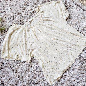 Lucky Brand- Cream Short Sleeve Flowy Top